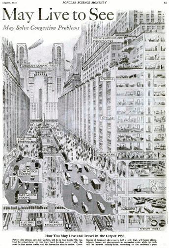 Entwurf der amerikanischen Stadt der Zukunft aus dem Jahr 1925