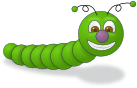 Ein fröhlicher grüner Wurm.