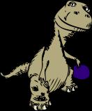 Ballspielender Dinosaurier