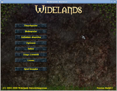 Screenshot des Menüs